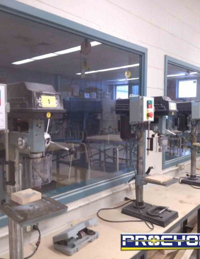 multiples drill press guard on table