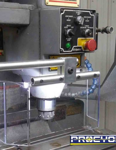 milling guard installed on grey milling machine