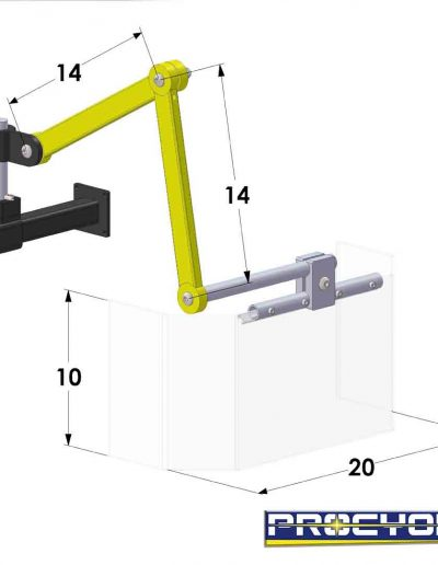 milling guard 10 inches by 20 inches technical drawing